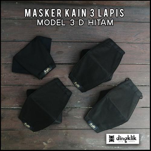 Foto Produk Masker 3D Kain 3 Ply HITAM - HEADLOOP dari Dingklik collection