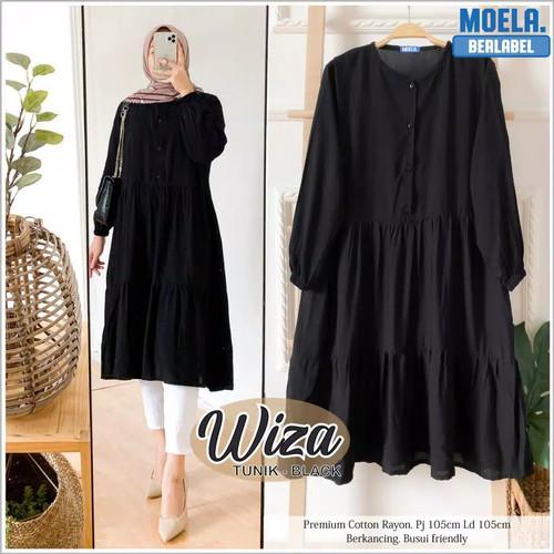 Foto Produk WIZA TUNIK Bahan Katun Rayon Tunik Atasan Wanita Muslimah Terbaru - Hitam dari Frilly Official Store