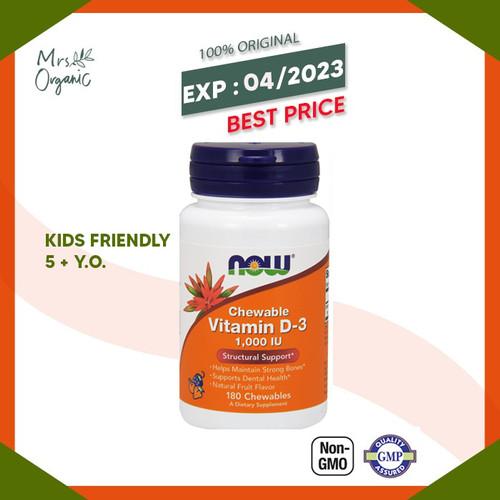 Foto Produk Now Foods Chewable Vitamin D-3 Natural Fruit Flavor 1000 IU 180 Chew dari Mrs Organic