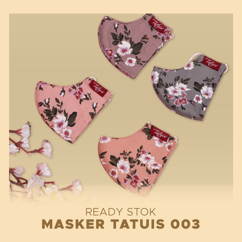 Foto Produk Masker Kain Hijab Headloop Tatuis 3 lapis filter motif bunga murah - Motif 003 dari Almandacollection