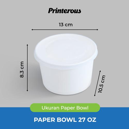 Foto Produk Paper Bowl / Mangkok Kertas 27 oz (800 ml) + Lid/Tutup dari Printerous