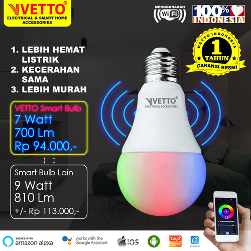 Foto Produk VETTO Smart Light Bulb 7W RGBWW - Wifi Wireless IoT Home Automation dari Vetto Smart Home