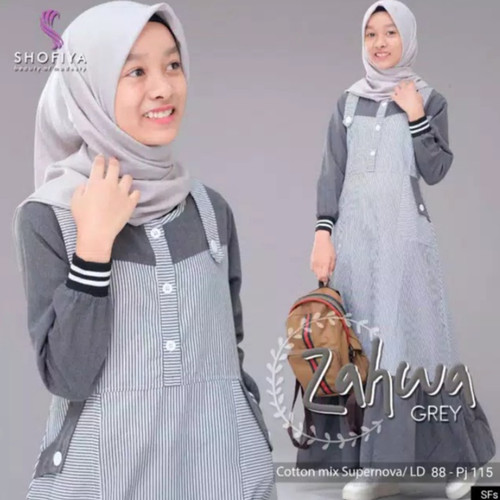 Foto Produk Zahwa Dress kids / gamis anak 13 - 14 th 15 - 16 th - Abu-abu, L dari family'fashion