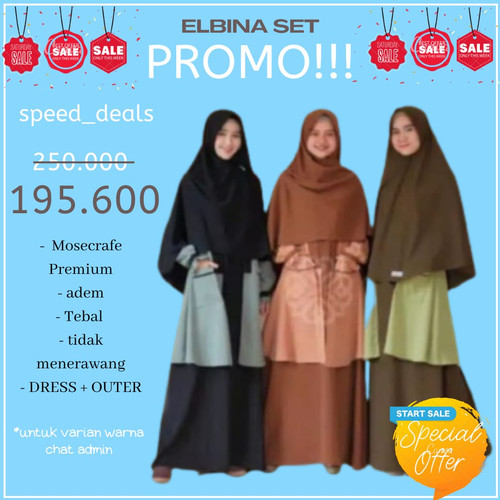 Foto Produk GAMIS ELBINA SET DRESS+OUTER (tanpa hijab) size S M L XL matt MOSCREPE - Soft Grey, L dari SPEED_DEALS