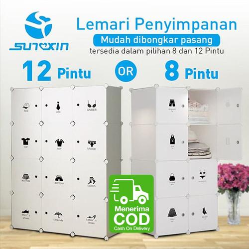 Foto Produk Lemari Penyimpanan Baju Portabel Bongkar Pasang 8 atau 12 Pintu - 8 kotak dari SUNXIN