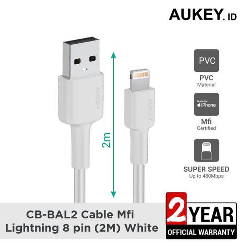 Foto Produk Kabel iPhone Aukey CB-BAL2 MFi USB-A to Lightning 2m White - 500690 dari AUKEY