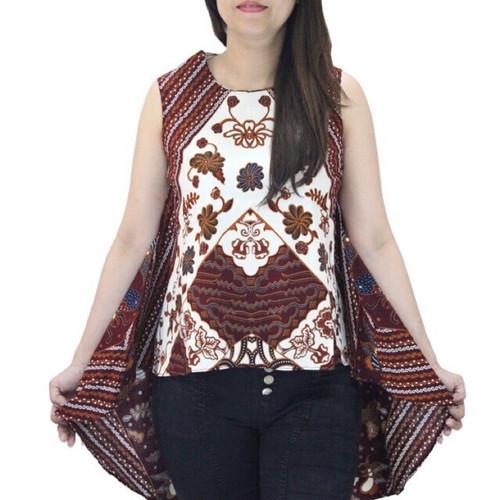 Foto Produk Atasan blouse batik sleeveless model asimetris utk wanita bahan katun dari 35an