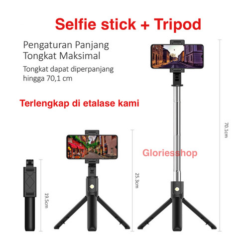 Foto Produk Tongsis Bluetooth Tripod 3in1 Remote Selfie Stick Integrated Tripod dari Gloriesshop 29