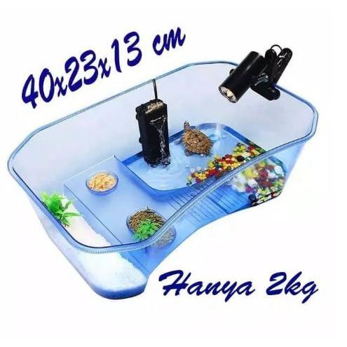 Foto Produk Komplit Set wadah aquarium kura kura / Turtle set - Hitam, 40x23x13 dari jonathanjojo