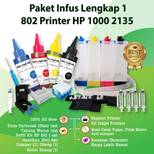 Foto Produk Paket Tinta Infus Printer HP 1000 2135 1112 1115 1515 1050 2050 3050 - 682 2335 2336 dari FixPrint Jakarta