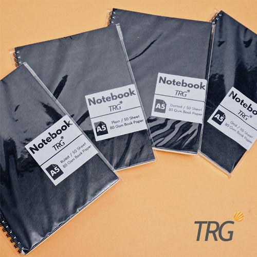 Foto Produk Buku Notebook A5 Dotted Ruled Grid Plain TRG Black Kraft Cover Spiral - Dotted dari TRG Official Shop