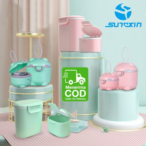 Foto Produk Tempat Kotak Penyimpanan Susu Bubuk Bayi Portabel Sealed Baby Milk - Persegi Pink, Kecil dari SUNXIN