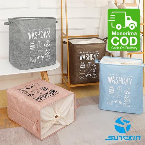 Foto Produk Keranjang Baju Cucian Pakaian Kotor Laundry Basket - Biru Muda dari SUNXIN