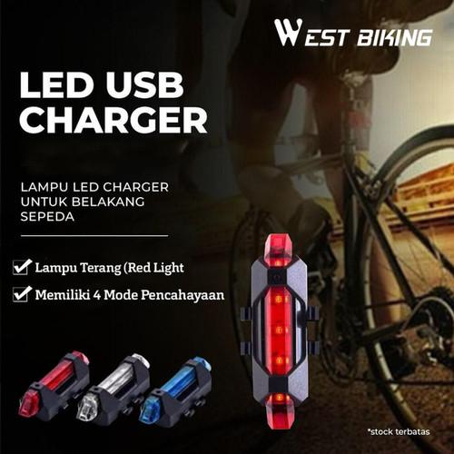 Foto Produk Lampu Belakang Sepeda LED Charger USB West Biking Lampu LED Charger - Merah dari West Biking Indonesia