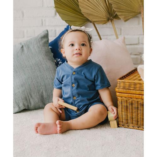 Foto Produk Takoyakids Essentials Jun Short Sleeves Sets Steel Blue - 0-3m dari Kottonville