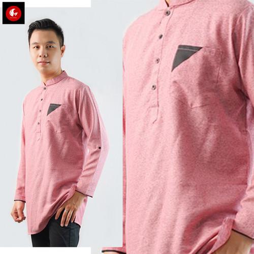 Foto Produk Okechuku CHOIRIL Baju Koko Pria Kemeja Kurta Pakistan Lengan Panjang - Merah Muda, M dari Okechuku