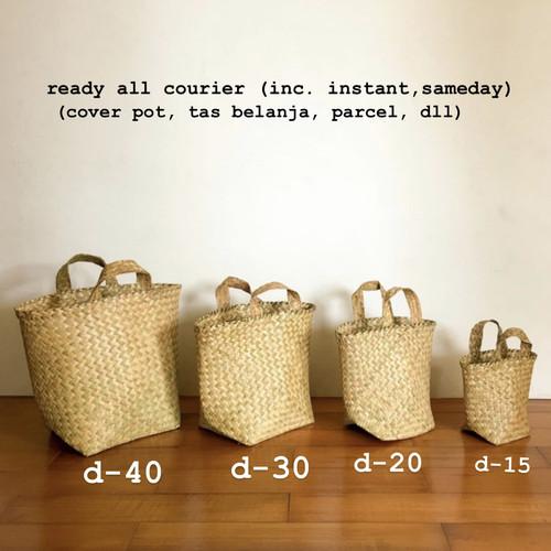 Foto Produk Keranjang Anyam, Bakul purun, Cover pot anyaman purun (SMALL 20cm) - mini dari mandushopid