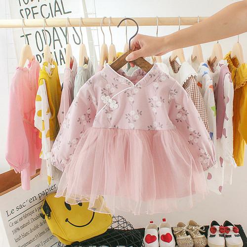 Foto Produk DRESS TUTU 643 BAJU GAUN CHEONGSAM PESTA ANAK BAYI IMPORT - Merah Muda, XL dari victori store