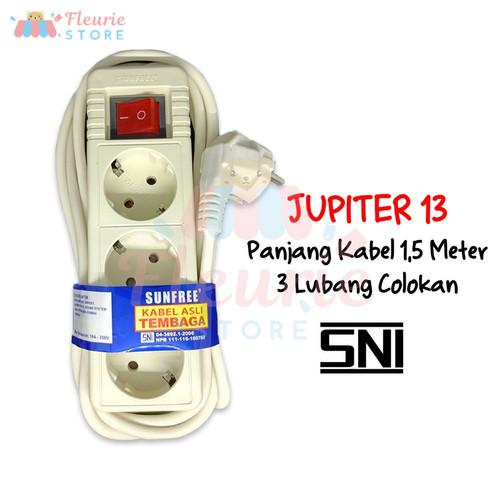 Foto Produk SUNFREE Jupiter 1,5m 3m 5m - 3 / 5 Lubang Colokan Stop Kontak + Saklar - S.Jupiter 13 dari Fleurie Store