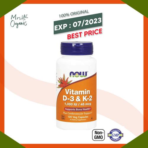 Foto Produk Now Foods, Vitamin D-3 & K-2, 120 Veg Capsules dari Mrs Organic