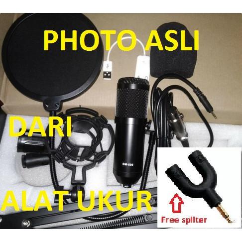 Foto Produk Paket recording smule youtube mic condenser BM800 Original Full Set - Hitam dari Alat Ukur Dan Repeater