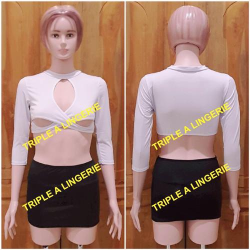 Foto Produk Sexy Lingerie Dress Costume Murah TA0352 BW Plus Stocking Hitam Jaring dari Lingerie Murah Jogja
