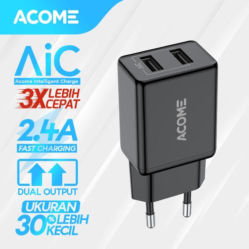 Foto Produk ACOME Charger Original 2.4 A AiC Fast Charging Garansi 1 Thn AC03 - Black dari Acome Indonesia