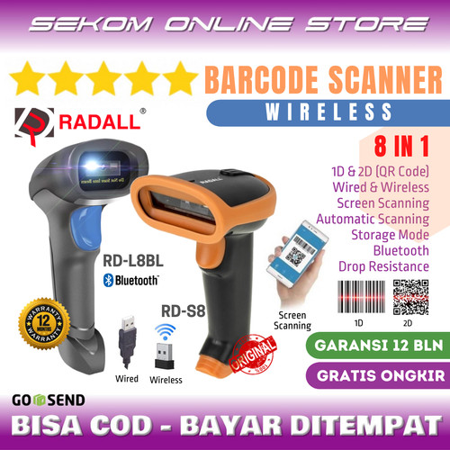 Foto Produk Wireless Barcode Scanner 2D QR Code Radall With Storage *PROMO dari SEKOM ONLINE STORE