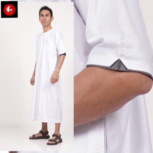 Foto Produk JUBAH ARABI - Pakaian Gamis Muslim Pria Lengan Pendek Warna Al-Isra - Putih, S dari Okechuku