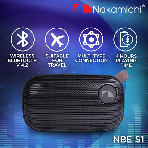 Foto Produk Nakamichi NBE S1 Speaker Portable Audio Wireless Bluetooth Black dari Nakamichi Indonesia