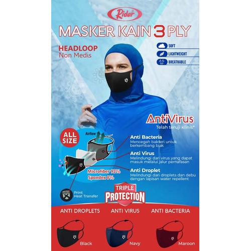 Foto Produk Masker Kain Rider AntiVirus 3 Ply (3 Lapis) - Model Headloop/Hijab - Hitam dari diorama-shop