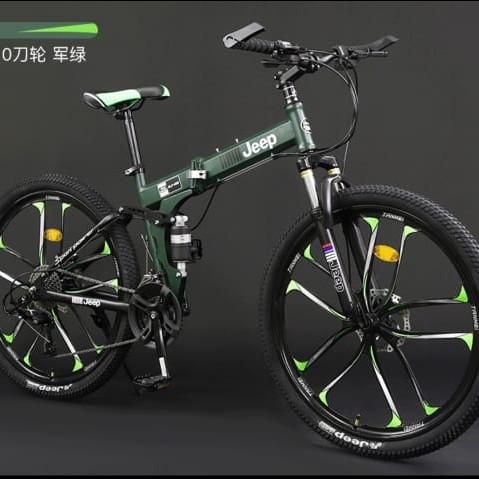 Foto Produk ❤️100 % original ❤️ Sepeda Lipat - Mountain bike Jeep - Hijau dari Koreanholicshop