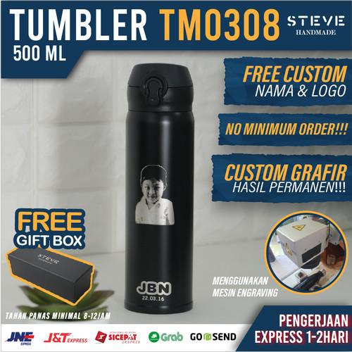 Foto Produk Botol minum stainless termos vacuum tumbler travel mug TM0308 Black dari Steve Handmade