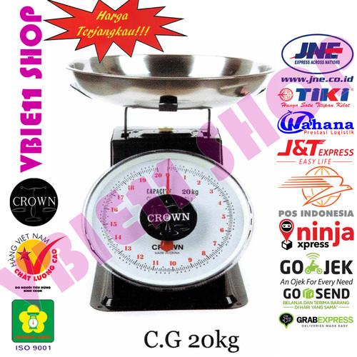 Foto Produk Timbangan Jarum/Analog/Duduk/Mangkok/Laundry/Buah/Sayur Crown C.G 20kg - Hitam dari VBie11 Shop
