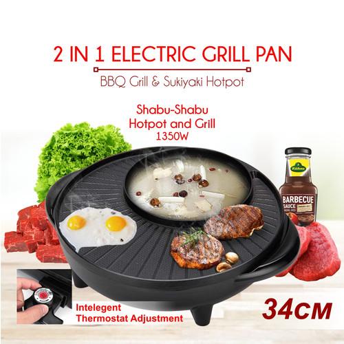 Foto Produk Panci Hotpot BBQ 2in1 Elektrik 34 cm Shabu Steampot Suki Grill Listrik dari SUPREME GROSIR