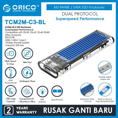 Foto Produk ORICO M.2 NVME M.2 SATA SSD Enclosure Dual Protocol - TCM2M-C3 dari ORICO INDONESIA