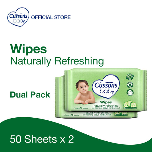 Foto Produk Cussons Baby Wipes Natural Refreshing 50 Sheet X 2 dari Cussons Official Store