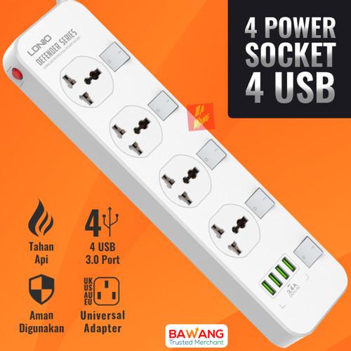Foto Produk Universal 4 Lubang Power Socket Strip Colokan Stop Kontak USB Charger dari Ba-Wang
