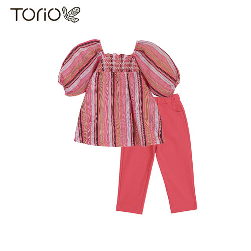 Foto Produk Torio Legging Set Pink Stripe - Baju Setelan Anak Perempuan - 1-2 tahun dari Torio