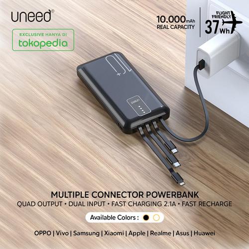 Foto Produk UNEED Powerbank 10000mAh Built in Cable Fast Charging 2.1A - UPB231 - Hitam dari Uneed Indonesia