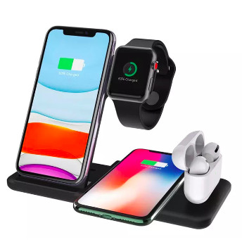 Foto Produk 4 in 1 Apple Fast Wireless Charger Charging Dock Stand iphone watch 3 - Putih, 4 in 1 dari GT Group