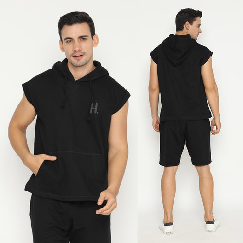 Foto Produk Hoodieku sleeveless Tanpa Lengan Hoodie Pria - Hitam - M dari hoodieku official