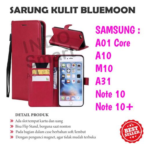 Foto Produk Flip Cover A01 Core A31 A10 Note 10+ Samsung Sarung Kulit Case Stand dari Indo Smart Acc