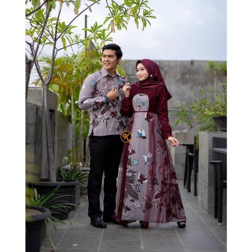 Foto Produk Couple baju batik gamis kemeja brokat model terbaru 2020 maroon - 1 set couple dari couple_batik.pekalongan