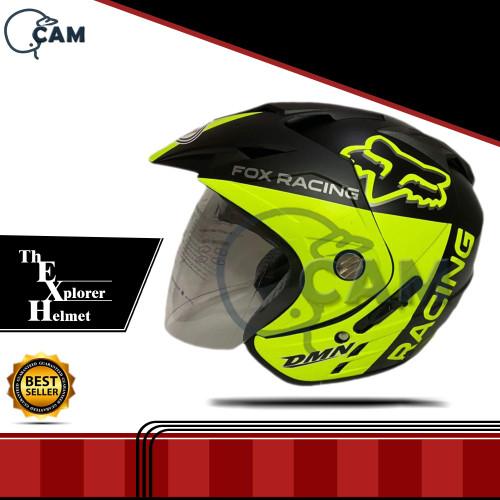 Foto Produk Helm 2 kaca Fox black doff yellow DMN dari Boss helm