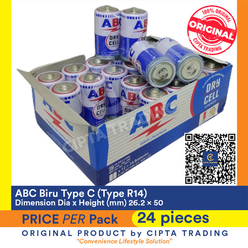 Foto Produk Battery - ABC Biru - Type C (1 Pack of 24 pieces) dari Cipta Trading