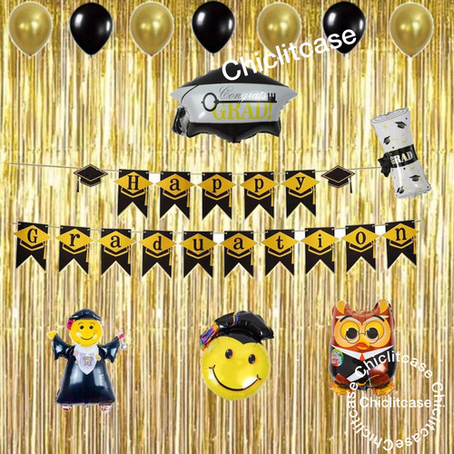 Foto Produk set paket balon happy graduation kelulusan wisuda sekolah kuliah dari chic lit case