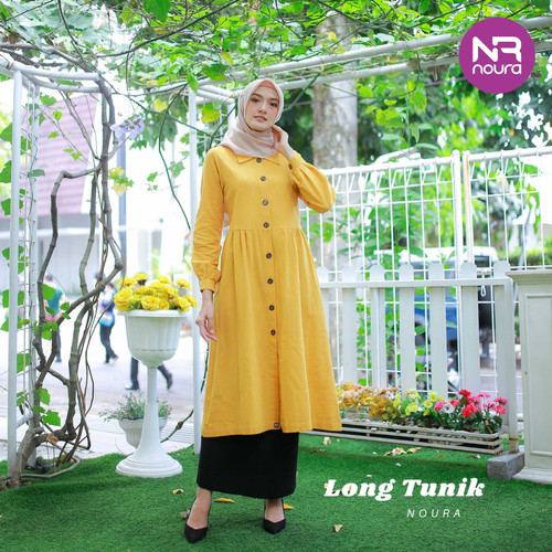 Foto Produk Tunik Dewasa Long Tunik by Noura - Mustard, M dari kedai berkah