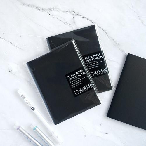 Foto Produk Black Paper Pocket Notes - Black Notes - Black Plain Notes A6 dari Pinkabulous