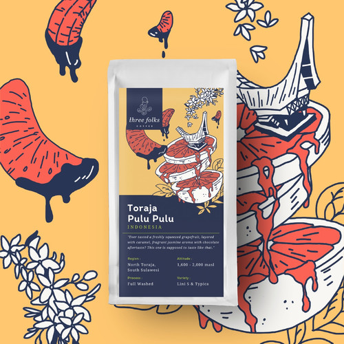 Foto Produk Kopi Arabika Three Folks Toraja Pulu Pulu Full Washed 200 gr - Biji Kopi dari Three Folks